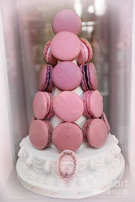 Paris Macaron Shop Photograph - Paris Laduree Pink Macarons - Paris Pink Laduree Window Display - Paris Pink Macarons Window Display by Kathy Fornal