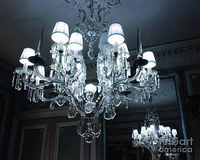 Paris Laduree Sparkling Crystal Chandelier - Laduree Chandelier Art Art Print by Kathy Fornal