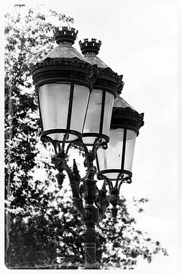 Luminaire Photograph - Paris Lamps - Black And White by Carol Groenen