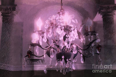 Photograph - Paris Lavender Crystal Chandelier Opulence Elegant Sparkling Purple Pink Dreamy Chandelier Art Deco by Kathy Fornal