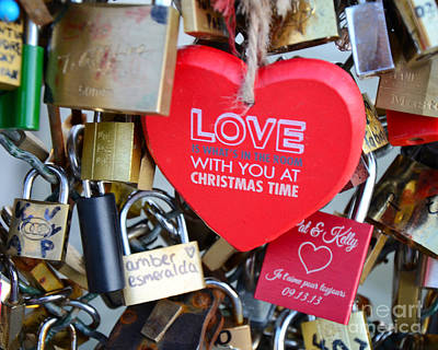 Photograph - Paris Locks Of Love Padlocks And Red Valentine Love Heart - Paris Locks Of Love Over The River Seine by Kathy Fornal