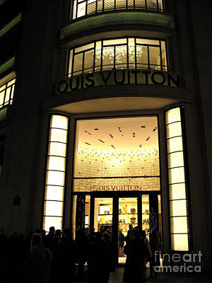 Couture Photograph - Paris Louis Vuitton Boutique Store Front - Paris Night Photo Louis Vuitton - Champs Elysees  by Kathy Fornal