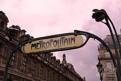 Paris Louvre Metro Sign - Paris Metropolitan Sign Art Nouveau - Paris Metro Art Deco Architecture  Art Print by Kathy Fornal