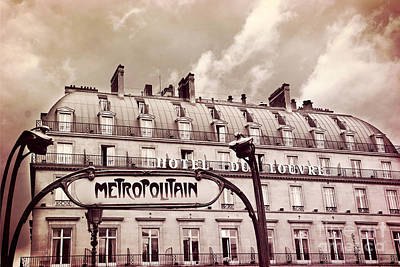 Paris In Blue Fine Art Photograph - Paris Louvre Metropolitain Sign At The Hotel Du Louvre - Paris Metro Sepia Art Deco Sign by Kathy Fornal