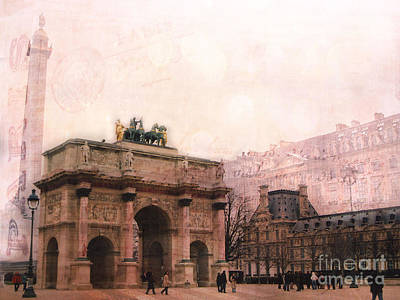The Eiffel Tower Photograph - Paris Louvre Museum Arc De Triomphe Architecture Buildings - Watercolor Paris Landmarks by Kathy Fornal
