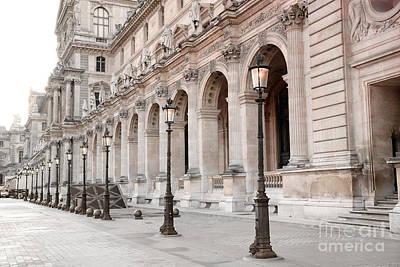 Louvre Wall Art - Photograph - Paris Louvre Museum Architecture Street Lamps - Paris Dreamy Louvre Museum Lanterns Lights  by Kathy Fornal