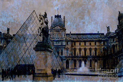 Photograph - Paris Louvre Museum Impressionistic - Surreal Blue Brown Louvre Pyramid Architecture Sculptures by Kathy Fornal