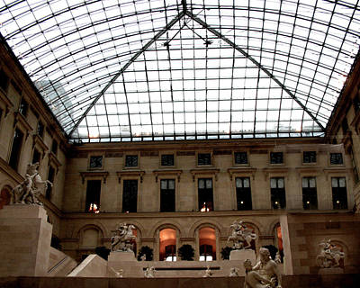 Louvre Wall Art - Photograph - Paris - Louvre Museum Pyramid - Louvre Sky Pyramid Sculpture Statues by Kathy Fornal