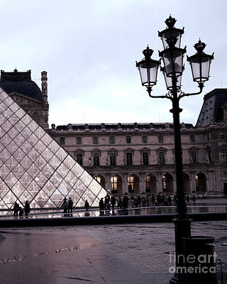 Louvre Wall Art - Photograph - Paris Louvre Museum Pyramid - Paris At Dusk Evening - Paris Street Lamps Lanterns At Louvre by Kathy Fornal