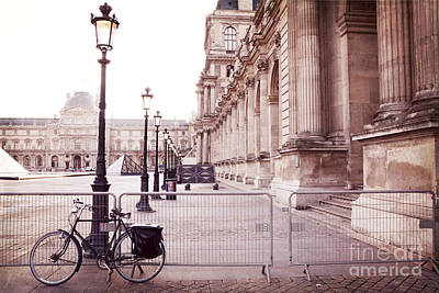 Paris Louvre Museum Street Lamps Bicycle Street Photo - Paris Romantic Louvre Architecture  Art Print by Kathy Fornal