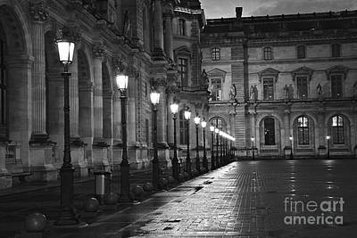 Photograph - Paris Louvre Museum Street Lanterns Lamps - Paris Black And White Louvre Museum Street Lamps by Kathy Fornal