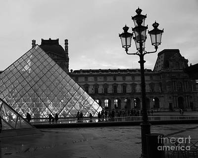 Photograph - Paris Louvre Pyramid Black And White Fine Art Print - Louvre Musem Pyramid With Lanterns by Kathy Fornal