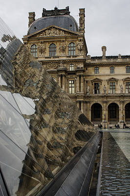 Photograph - Paris - Louvre Reflecting In The Pyramid  by Georgia Mizuleva