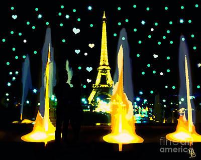 Digital Art - Paris Love Blue Water by Mindy Bench