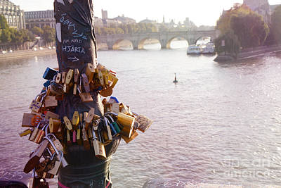 Paris Love Locks Pont Des Arts Bridge  -  Paris Lovers Padlocks Overlooking Seine River  Art Print