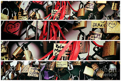 Photograph - Paris Love Locks Panels by John Rizzuto