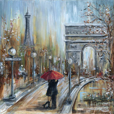 Paris Street Scene Painting - Paris Lovers II by Marilyn Dunlap