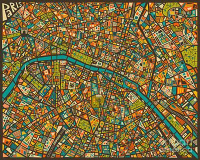 Colorful Digital Art - Paris Map by Jazzberry Blue