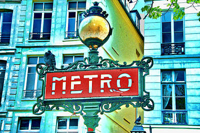 Photograph - Paris Metro Sign by Allen Beatty
