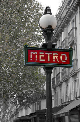 French Signs Photograph - Paris Metro Sign by Matthew Bamberg