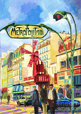 Moulin Rouge Painting - Paris Metropolitain Blanche Moulin Rouge  by Yuriy  Shevchuk