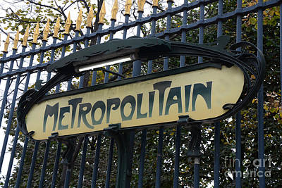 French Signs Photograph - Paris Metropolitain Sign - Paris Metro Art Nouveau Signs - Paris Metro Sign Black And Gold  by Kathy Fornal