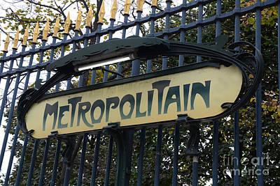 Photograph - Paris Metropolitain Sign - Paris Metro Art Nouveau Signs - Paris Metro Sign Black And Gold  by Kathy Fornal