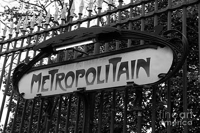 Photograph - Paris Metropolitain Sign - Paris Metro Signs Black And White Photography - Paris Metro Sign On Gate by Kathy Fornal