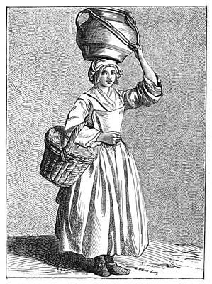 Basket Head Painting - Paris Milkmaid, C1740 by Granger