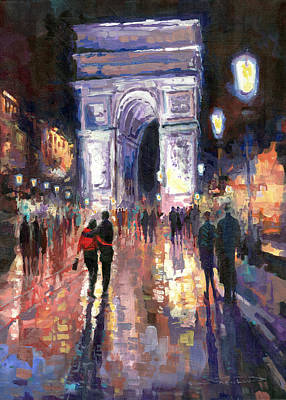 Paris Miting Point Arc De Triomphie Art Print by Yuriy  Shevchuk