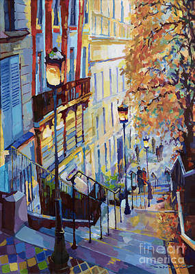 Paris Cityscape Painting - Paris Monmartr Steps by Yuriy  Shevchuk