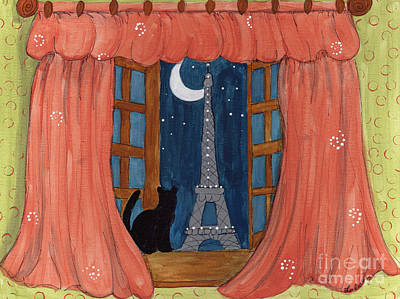 Paris Moonlight Art Print by Lee Owenby