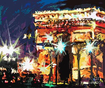 Paris Nights Arc De Triomphe Art Print