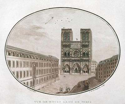 Notre Dame Drawing - Paris Notre Dame, 1700s by Granger