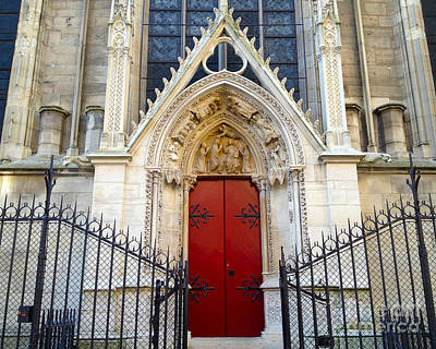 Photograph - Paris Notre Dame Cathedral Red Ornate Door - Notre Dame Cathedral Door Window Gate Architecture by Kathy Fornal