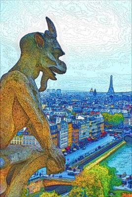 Paris Skyline Royalty-Free and Rights-Managed Images - Paris Notre Dame Gargoyle by Steven Richman