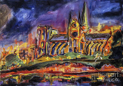 Paris Notre Dame Oil Sketch Art Print