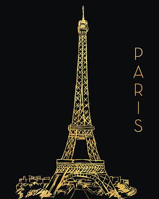 Tower Mixed Media - Paris On Black by Nicholas Biscardi