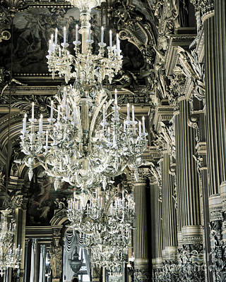 Paris Opera House Chandeliers Silver Bronze Gold - Paris Opera House Opulent Sparkling Chandeliers Art Print by Kathy Fornal