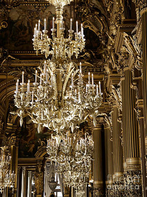 Photograph - Paris Opera House Gold Chandeliers - Paris Opera Garnier Crystal Sparkling Chandelier Art by Kathy Fornal