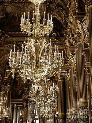 Paris Opera House Gold Chandeliers - Paris Opera Garnier Crystal Sparkling Chandelier Art Art Print by Kathy Fornal