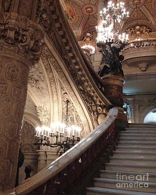 Photograph - Paris Opera House Grand Staircase Chandeliers - Paris Opera Garnier Romantic Architecture by Kathy Fornal