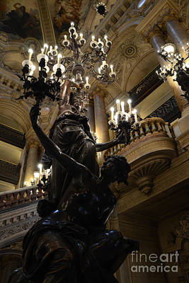 Photograph - Paris Opera House - Paris Palais Garnier - Paris Opera House Interior - Chandeliers And Statues  by Kathy Fornal