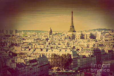 Paris Skyline Royalty-Free and Rights-Managed Images - Paris panorama France retro by Michal Bednarek