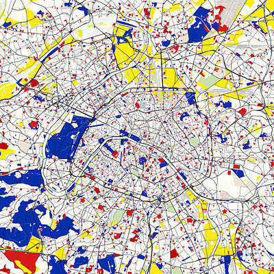Fabric Digital Art - Paris Piet Mondrian Style City Street Map  by Celestial Images