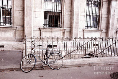 Photograph - Paris Bicycle Street Art - Paris Dreamy Pink And Black Bicycle Street Scene Architecture by Kathy Fornal