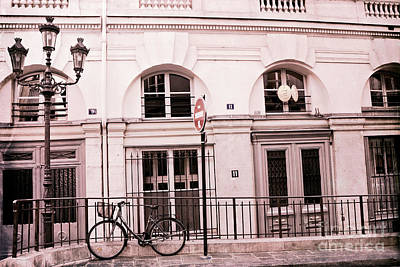 Paris Pink Bicycle Street Lamps - Paris Bicycle Pink Black Architecture Art Print by Kathy Fornal