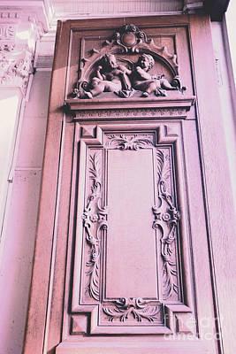 Cherub Photograph - Paris Pink Cherub Door Architecture - Paris Romantic Pink Art Nouveau Door  by Kathy Fornal