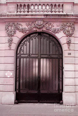 Surreal Paris Decor Photograph - Paris Pink Doors Art Deco - Paris Art Deco Architecture Facade - Romantic Paris Doors by Kathy Fornal
