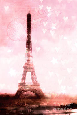 Photograph - Paris Pink Eiffel Tower - Shabby Chic Paris Dreamy Pink Eiffel Tower With Hearts And Stars by Kathy Fornal
